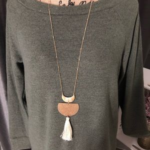 Jewelry - Tassel and Moon Gold Sweater Necklace